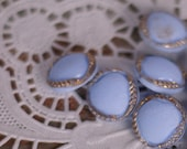 """Vintage Buttons Set of 5 Small Round Blue & Gold 'Pillow' Style Retri Dress Buttons or Shirt Buttons 1/2"""" Pastel Cornflower Blue"""