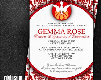 Confirmation Invitation: Circle with Damask - Digital File