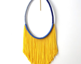 SUNSHINE // Fringe Necklace, Yellow Necklace, Blue Necklace, Statement Necklace, Women Accessories, Rope Necklace