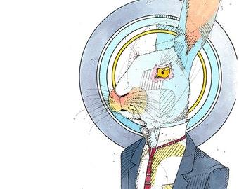 Business Rabbit- Limited Edition Fine Art Print 8x10.