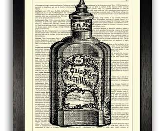 VINTAGE TOOTHWASH Art Print  Bathroom Wall Decor  Bathroom Artwork   Dictionary Art Print Bathroom artwork   Etsy. Bathroom Artwork. Home Design Ideas