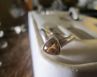 925 silver ring - orange stone - size L