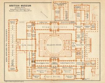1930 British Museum, London, England, United Kingdom Antique map