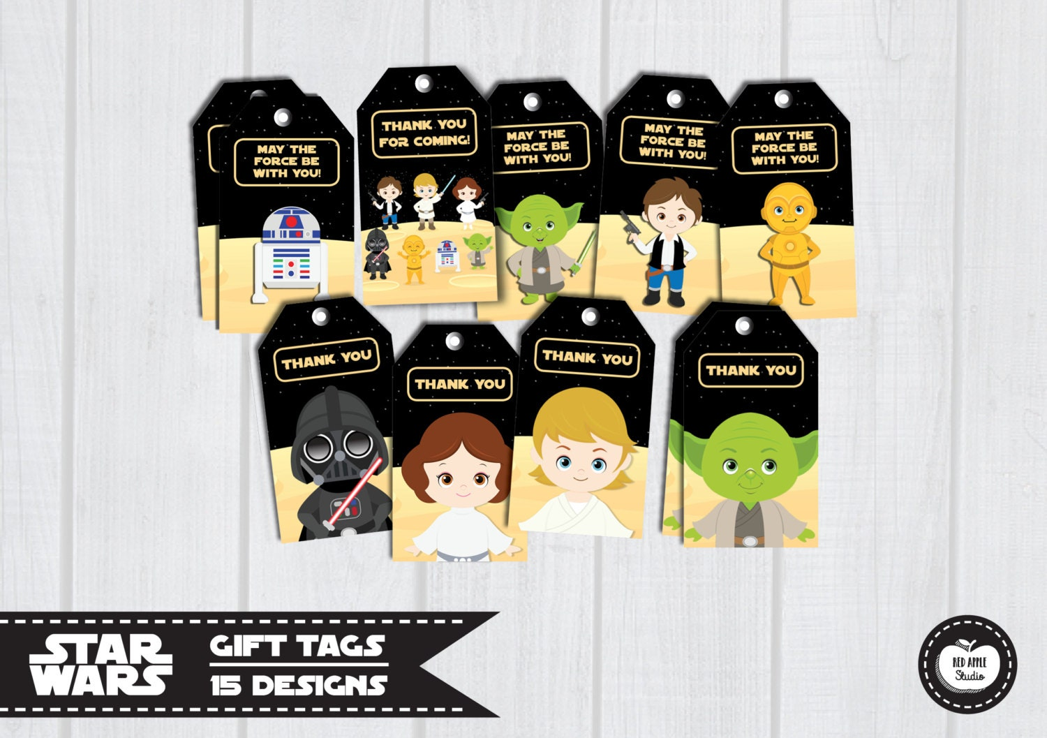 15x STAR WARS TAGS Gift Tags Favor Tags Birthday by RedAppleStudio