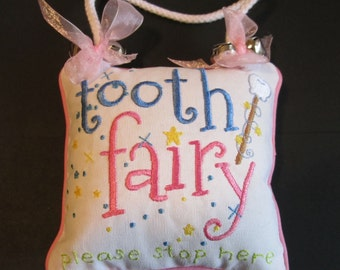 Pink Tooth Fairy Pillow with Pocket, Girl's Tooth Pillow, Not Personalized
