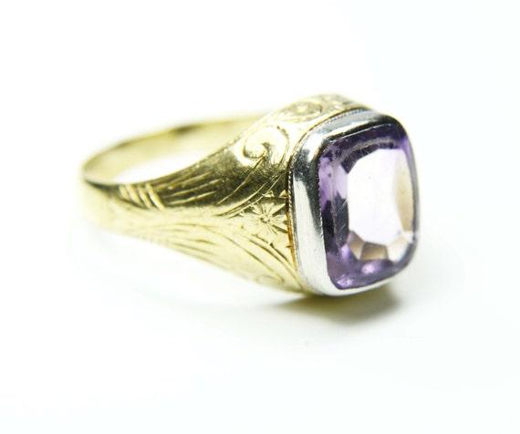 Antique Mens Ring Art Nouveau Mens Ring 18k Gold Amethyst Ring