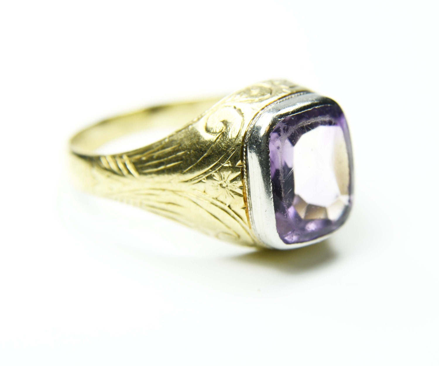 antique mens ring 18k gold mens amethyst ring gents ring 18k