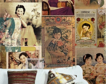 Vintage Oriental Lady Wallpaper Retro Advertisment Poster Wall Murals Custom Made Custom Size