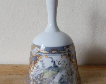 Vintage Porcelain Bell with Peacock and Floral Design