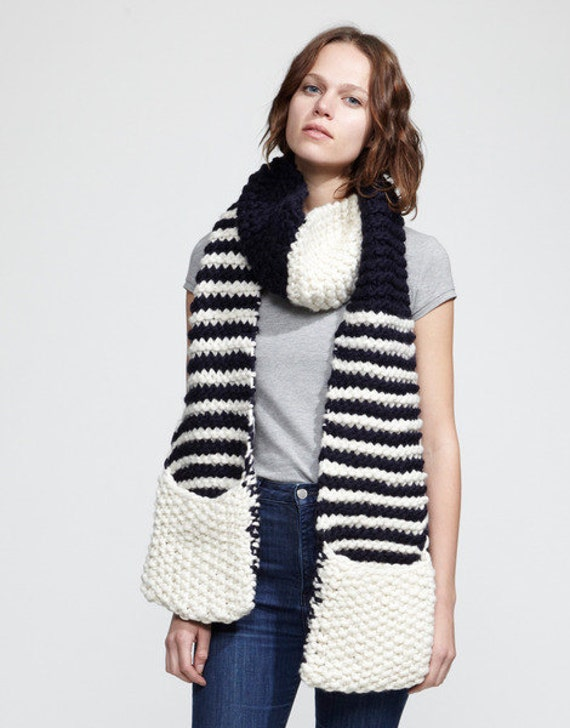 Knitting Pattern Scarf With Pockets : Knitting Pattern Striped Jolly Pocket Scarf by ...
