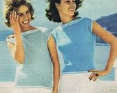 Vintage 1960s Knitting Patterns for Ladies Men's Jumper and Sleeveless Top  - 2 styles - digital file