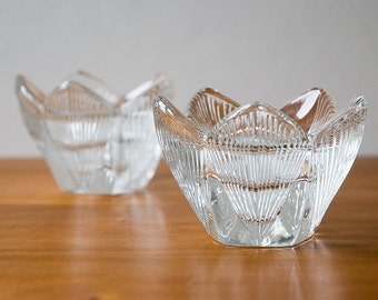 French Glass Flower Candle/Tea-Light Holders