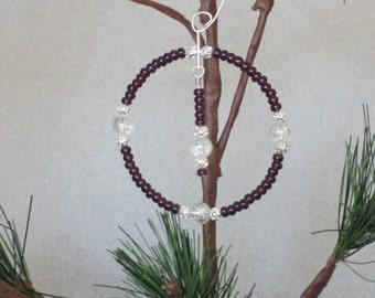 SALE - Dark Purple and Silver Wreath Ornament