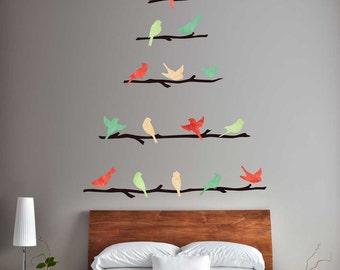 Oh Christmas Tree Wall Decal Kit - Bird & Branch Wall Decal Kit by Chromantics