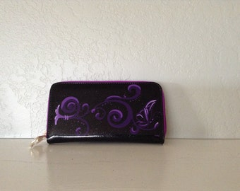 Glitter Wallet Black and Purple, Rockabilly, Hot Rod, Metal Flake, Pinup