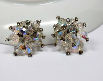 Vintage AB Crystal Beaded Clip Earrings with Rhinestone Accents Statement Earrings Retro Vintage Jewelry Vintage Earrings