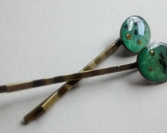 bobby pins green gold oval dot moss wedding prom
