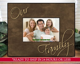 Brown Family Picture Frame, Family Photo Frame, Family Gift, Housewarming Gift, Gift for Mom and Dad, Gift for Grandparents, 4x6, 5x7