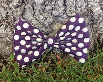 Purple Polka Dot Hair Bow, Purple Hair Bow