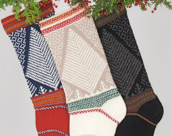 Hand-knit Christmas Stocking, Norse Woods