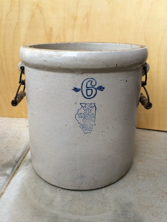 Rare Antique White Hall 6 Gallon Stoneware Crock In Fantastic