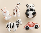 Colorful Drawer Knob Handle Animal style knobs Dresser Knob Pull Ceramic cartoon knob World of Animals Kitchen Cabinet Handle Knob Hardware