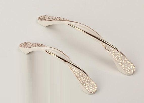Dresser Drawer Pulls Handles Unique Chic White Gold By