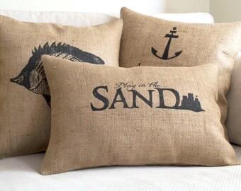 beach pillow, beach decor, beach pillows, nautical pillow, pillow cover, pillow, beach, decorative pillow, burlap pillow cover,coastal decor