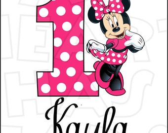 Minnie Mouse hot or light pink Birthday Image PERSONALIZED name ANY age digital iron on transfer clip art DIY for Shirt