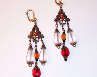 Czechoslovakian Dangle Earrings with Frosted and Crystal Beads