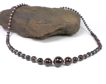 Sale! 20% off! Stone Necklace - Gemstone Necklace - Garnet Stone Necklace - Handcrafted Semiprecious Jewelry - Simply Bold Jewelry Designs