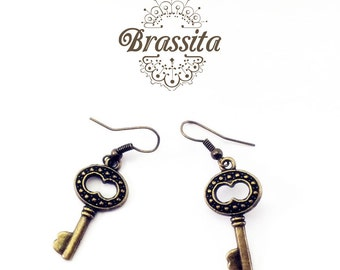 Gold Brass Skeleton Key Earrings