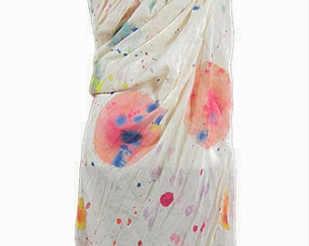 Artisan hand-painted scarf, polka dots large watercolor, linen/cotton, 150 x 150 cm