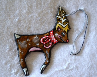 Christmas Reindeer Salt Dough Ornament