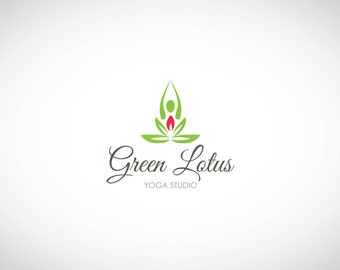 YOGA LOGO - Custom Premade Logo, Lotus Logo, Custom Business Logo Design, Premade Watermark, Graphic Design