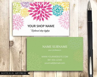 Business Card - Colorful Flowers - Double-side Professional Printable PDF Template
