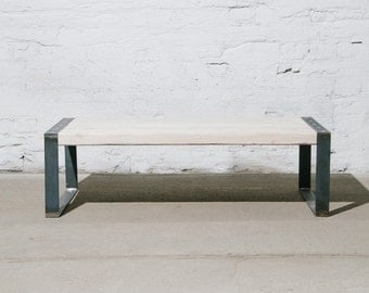 coffee table made out of recycled wood and steel