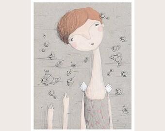 Sweet Dreams-Angel-Сakes-Illustration-Art Print