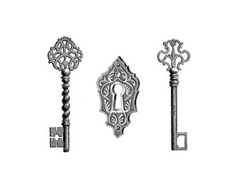 "Vintage Keys and Lock Temporary Tattoo - ""Under Lock and Keys"""