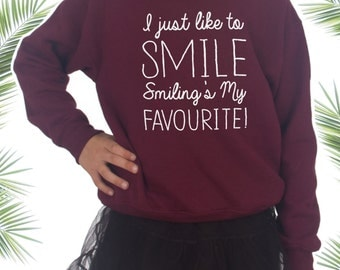 Children's I Just Like To Smile Smiling's My Favourite Jumper Sweater Slogan Funny Kids Christmas Gift Santa Elf