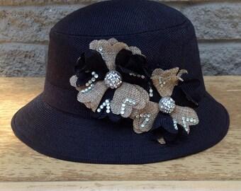1930s & 1940s Vintage Styled Ladies Fedora Hat, Black with Sparkle