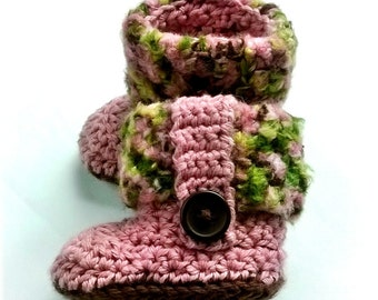 Custom Order Hand Crochet Baby Girl Pink Camo Fur Flap Cuff Boots Newborn-12mos