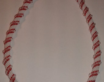 Hand-made red-and-white cellini spiral necklace