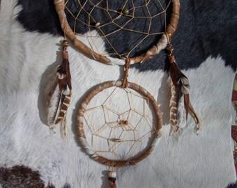 Cow Hide & Feather Double Hoop Dreamcatcher