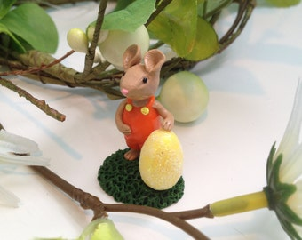 Miniature Woodland Easter Mouse with Yellow Easter Egg Collectable Fairy Garden Terrarium Sculpture
