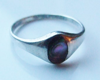 Vintage 925 Sterling Silver Abalone Paua Shell Ring Size 5 3/4 - L