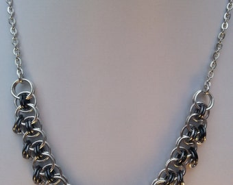 Chainmaille Necklace and Earrings in Black and Silver