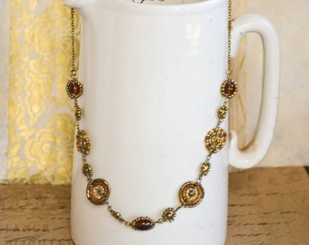 Amber and gold Maasai beadwork necklace