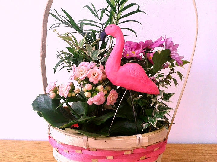 Pink Flamingo Sculpture Miniature Garden Flamingo Decoration