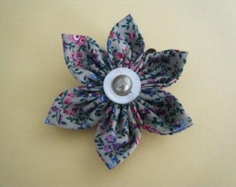 Hair Clip Fabric Flower. Printed Flower. Hair Accessories. Women Accessories. Girl Accessories, Fabric Flower